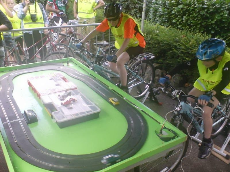 Pedal powered Scalextric